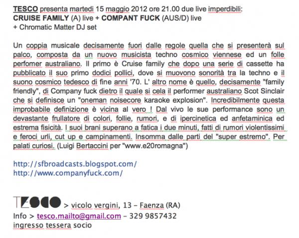 Company Fuck – Faenza, Italy – 2012